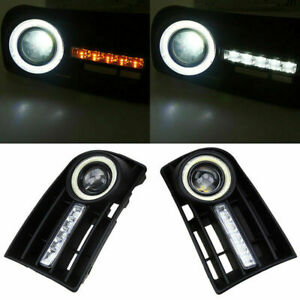 Pair Fog Lights Grilles With LED DRL Lamp for VW Golf5 MK5 05 06 2007 2008 2009
