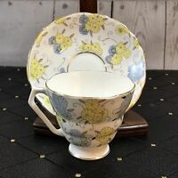 Vtg RADFORDS FENTON Bone China Floral TEA CUP & SAUCER SET Excellent Floral