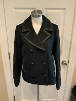 J. Crew Collection Navy Blue Wool Button-Up Peacoat w/ Leather Trim, Sz 12, NWT!