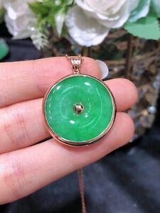 Vintage Emerald With Green Jadeite Jade Pendant 18K Yellow Soild Gold
