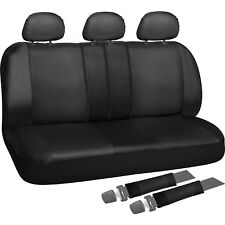 Rear Seat Cover Set for Car Truck SUV - Split Bench PU Leather - 8pc Black