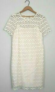 Ann Taylor Loft Sz 10 Cream Lace Cutout Short Sleeve Shift Dress Elopement Elope