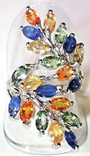 NATURAL FANCY MULTI-COLOR SAPPHIRE 925 SILVER-14K GOLD PLATED SIZE 7 RING   #381