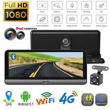 """8"""" 1080P Android 5.1 Car DVR 4G WiFi BT Dash Cam ADAS Dual Lens Camera GPS Navi"""