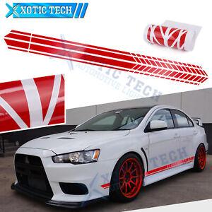JDM Glossy Red Side Door Fender Decal Stripes Sticker For Mitsubishi Lancer EVO
