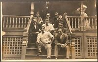 Real Photo Postcard RPPC ~ Nine Young Men Sitting On Porch Steps ~ Fraternity