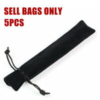 5pcs Velvet Pen Pouch Sleeve Holder Single Pencil Pen Case Rope Locking Black