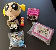 2000 - NWT Lot of 4 POWERPUFF GIRLS Applause Plush Toy Bubbles Make Up Tins JITB