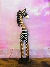 More details for 60cm brown & white wood zebra tall statue wood modern hand carved painted