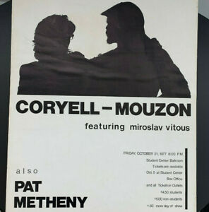 1977 Coryell Mouzon / Pat Metheny Jazz Concert Poster Kent State Ohio 17x22