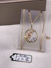 "GoldNMore: 18K Gold Necklace and Pendant (tri color) 18"" thin chain"