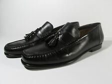 Santoni Leather Dress Loafers Loafer Shoes Tassel Black Mens 8.5