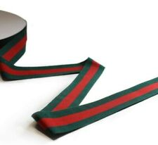 1� Red/Green Stripe Trim Ribbon   Double Face Luxury Grosgrain Ribbon