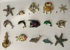 Pick A Brooch Pin- Vintage -Now- Stunning Colorful Fish Dolphin Crab Etc Bn15