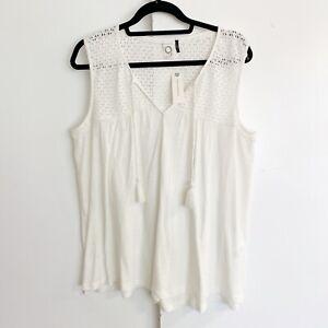 NWT AKEMI & KIN XL top Ivory crochet trim boho tank Anthropologie cotton tassels