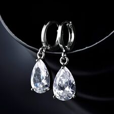 Vintage Clear Pear Swarovski Crystal Charming White Gold Filled Dangle Earring