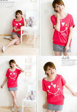 Japan Korea fashion pink red smiley T-shirt