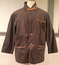 ORVIS Khaki Safari Leather Patch Elbow Field Sport Hiking Jacket Coat Medium