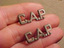 ORIGINAL WWII CAP CIVIL AIR PATROL COLLAR BADGE / INSIGNIA PAIR - STERLING