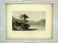 Original Old Antique Print View Lake George Mountains Trees Engraving