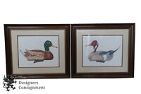 2 Vintage Pencil Signed Lantz Duck Lithograph Prints Mallard Pintail Pair 29""