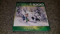 EUROGRAPHICS 1000 pc. JIGSAW PUZZLE IT'S YOUR TURN DOUGLAS LAIRD WINTER SLEDDING