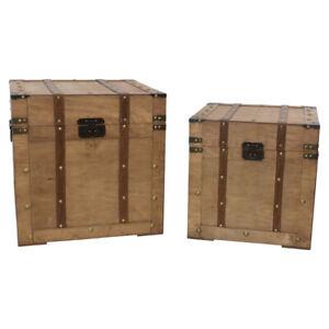 Vintage Style Wooden Square Industrial Storage Trunks Ceylon Light Walnut Box