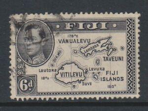 Fiji - 1944 , 6d Violet-Black Sello - Perforado 13 1/2 - Die II - F / U - Sg