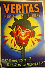 Rare Veritas Mantles & Burners Advertising Poster Original Vintage Hassall art