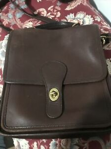 Preowned Coach Vintage Willis Brown Leather Bag Shoulder Cross Body Carry Purse