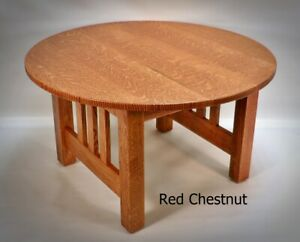 Mission Craftsman Quarter Sawn Oak Round Coffee Table 33 Colors