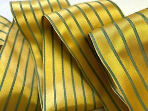 """Vintage Ribbon 2 5/8"""" Satin Stipe Wire Gold & Teal Blue 1yd Made in France"""