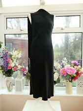 JAEGER BLACK SATIN BIAS CUT EVENING PARTY DRESS WITH ATTACHED SCARF DETAIL Sz