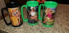 Vintage lot of 3 Snap On Tool Mates Girls Beer Mugs Cups Plastic 1991 preowned