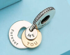 Pandora silver Bead charm authentic YOU & ME FOREVER 791979 WITH GOLD CLEAR CZ
