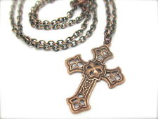 CROSS PENDANT NECKLACE ANTIQUED COPPER FILIGREE ADJUSTABLE CHAIN HAWAIIBEADS