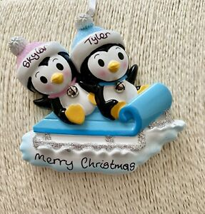 Personalised Sibling Twins Penguin Sled First Christmas Tree Decoration Girl Boy