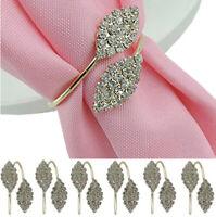 6Pcs Rhinestone Napkin Rings Leaf Shape Napkin Buckle for Party Dinner-Golden