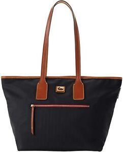 Dooney & Bourke Women's Black & Brown Wayfarer Shopper Tote Bag Purse 8850-7