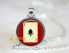 Las Vegas Ace of Spades glass dome Tibet silver Chain Pendant Necklace wholesale