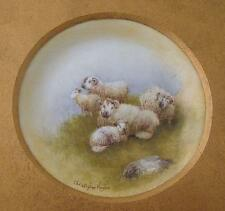 Christopher Hughes Sheep Painted Porcelain Picture (Royal Worcester Artist)