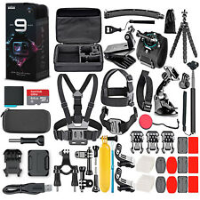 GoPro Hero9 Black with 64Gb Card & 50 Piece Accessory Kit - Loaded Bundle