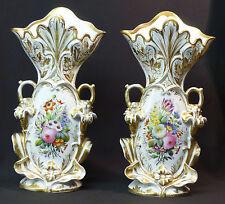 B 19ème porcelaine  Paris paire grands vases mariée 3,1kg38cm décor floral chic