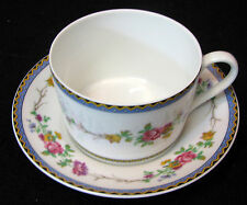 Royal Limoges, France cup & saucer Marigny pink, yellow & purple purple flowersr