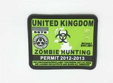 Patch Airsoft Paintball United Kingdom Permis Chasse Zombie Vert PVC Large