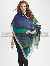 "EMILIO PUCCI royal blue PAPAVERI 100% wool 50"" scarf PASHMINA shawl NWT Authentc"