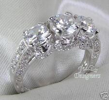 2.1ct Round Brilliant Cut 3-Stone Engagement Ring, Sz7