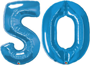 """50th BIRTHDAY BALLOONS 34"""" SAPPHIRE BLUE 50th PARTY SUPPLIES NUMBER 50 BALLOON"""