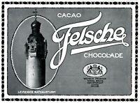 Schokolade Felsche Leipzig Reklame 1910 Rathausturm Werbung Kakao Cacao Wilhelm