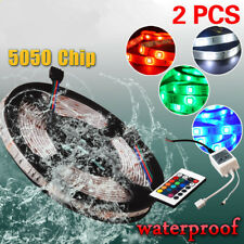 2x 5M SMD Remote RGB 300 LED Strip Light 5050 IP67 Waterproof + 24Key Controller